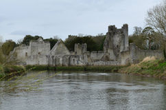 Calm River Maigue and Desmond Castle Ruins Royalty Free Stock Images