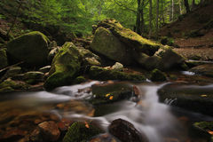 Calm river in the middle of forest. Long exposure photo of the river that runs between the large stones using royalty free stock images