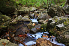 Calm river in the middle of forest. Long exposure photo of the river that runs between the large stones using Stock Photos