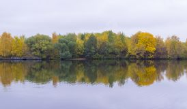 River at rainy autumn morning. background, nature. Stock Photo