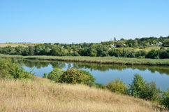 Calm river in the Ukrainian steppe Royalty Free Stock Images