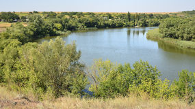 Calm river in the Ukrainian steppe Royalty Free Stock Image