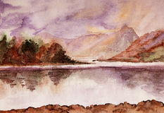 Calm river . Watercolor. Stock Images