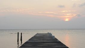 Calm Sunrise Over Jetty. Calm scenic of slow sunrise over an ocean jetty in high definition footage stock footage