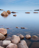 Calm sea. By the coastline of Karlshamn, Sweden Stock Photos