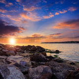 Calm Sea At Hot Sunrise Royalty Free Stock Image
