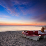 Calm sea beach with boats Royalty Free Stock Photo