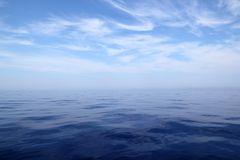 Calm sea blue water ocean sky horizon scenics. In Mediterranean Royalty Free Stock Image