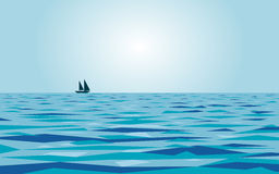 Calm sea and a boat Royalty Free Stock Photos