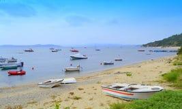 Calm sea boats Greece Stock Photography