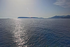 Calm sea and islands. Blue water calm Adriatic sea Stock Photo