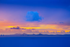 Calm sea scape with big cloud in the morning sun set Royalty Free Stock Photo