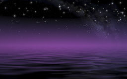 Calm sea in starry night after sunset Royalty Free Stock Photos