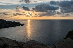 Calm sea sunset landscape stock photo