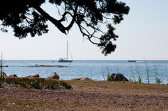Calm sea view with sailing boat Royalty Free Stock Photo