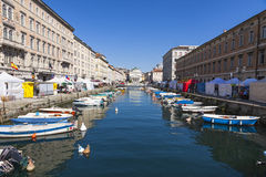 Calm sea water of the Canal Grande, Trieste, Italy Stock Photo
