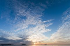 Calm Sea wave sunset view blue water ocean. Istanbul marmara sea, sunset on the islands stock image