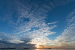 Calm Sea wave sunset view blue water ocean. Istanbul marmara sea, sunset on the islands stock photo