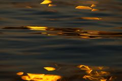 Calm Sea wave sunset view blue water ocean. Sunrise reflected in sea water, reflection in golden color stock photography