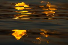 Calm Sea wave sunset view blue water ocean. Sunrise reflected in sea water, reflection in golden color royalty free stock image