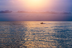 Calm Sea wave sunset view blue water ocean Stock Image