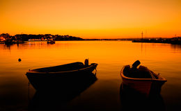 Calm seascape with two boat Royalty Free Stock Images