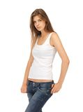 Calm and serious woman in blank white t-shirt Stock Images