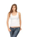Calm and serious woman in blank white t-shirt Stock Image