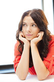 Calm and serious woman. Bright picture of calm and serious woman Stock Images