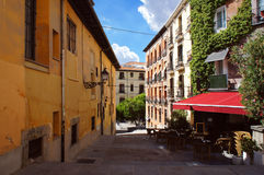 Calm siesta street in Madrid Stock Photos
