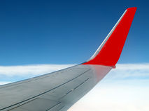 Calm sky. With airplane wing Stock Photography