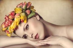 Calm spring woman Stock Photography