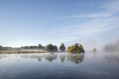 Calm still lake with mist hanging over water on frosty Autumn Fa Stock Images