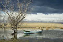 Calm Before the Storm. Fisherman s boat in a pond/lake amongst an eerie dead nature view of the calm before a big storm, with a beautiful, yet spooky snow-capped Stock Image