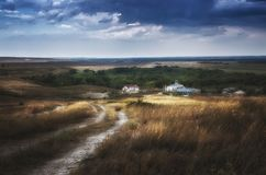 Calm before the storm near monastery in steppe of Astrakhan region, Russia stock images