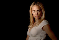 Calm but Strong. Beautiful blond model looking calm but strong portrait Stock Photo