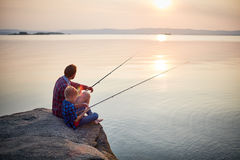 Calm Summer Evening for Fishing stock image