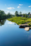 Calm summer river in countryiside Royalty Free Stock Image