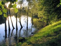 Calm sunny evening. On a river in Tartu, estonia Royalty Free Stock Photos