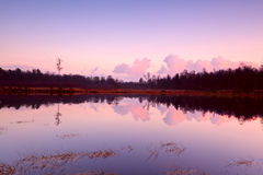 Calm sunset over lake in Dwingelderveld Stock Photo