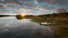 Calm Sunset in Swedish Lapland. Calm Sunset at a Lake in Swedish Lapland Royalty Free Stock Images