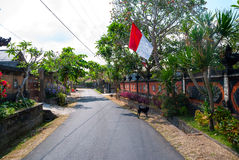Calm and tidy street in village in Bali Royalty Free Stock Photo