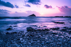 Calm time lapse on beach at sunset Royalty Free Stock Photos
