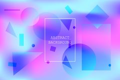 Calm vibrant background with blue and pink shapes. Calm vibrant background with blue and pink abstract geometric shapes. Modern polar light colors wallpaper with Royalty Free Stock Photos