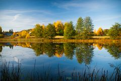 Calm water autumn nature reflection Royalty Free Stock Photography