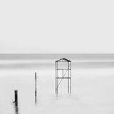 Calm water. Black & white daytime long exposure seascape with beautiful sky and objects in the sea. Black sea, Odessa, Ukraine Stock Image