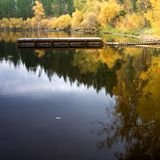 Calm water and a boat dock. The calm water in the morning casts reflections of the dock and fall colors Royalty Free Stock Photos