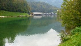 Calm water of konigsee lake. In germany Stock Image