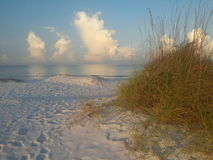 Calm water and white sand dune. Siesta Key Florida, USA