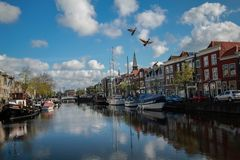 City port. Calm water surface at Leiden of Netherland having flying goose Stock Photo